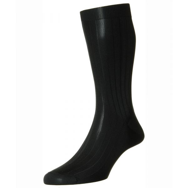 Pantherella Socks - Asberley - Mens - Black - Plain - Silk - Half Calf - Short