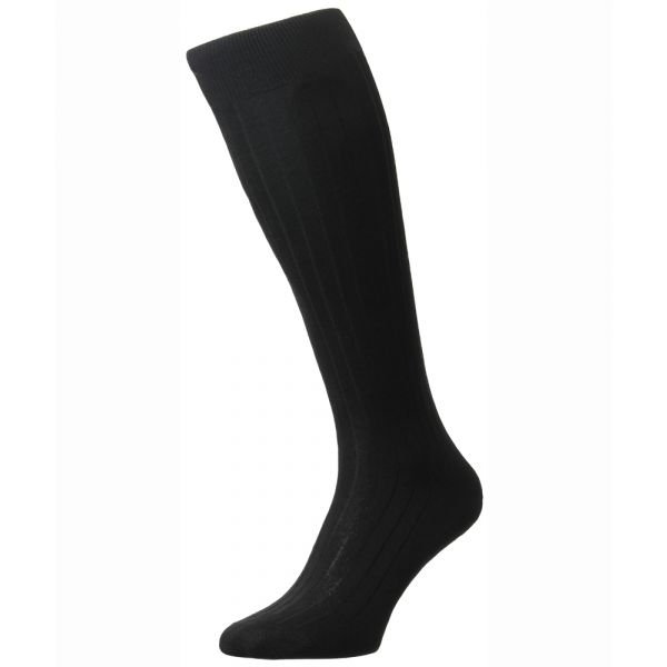Pantherella Socks - Asberley - Mens - Black - Plain - Silk - Full Calf - Long