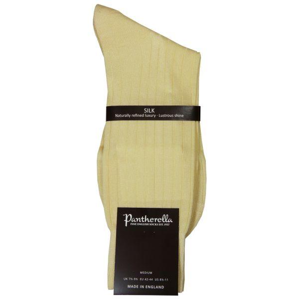 Pantherella Socks - Asberley - Mens - Beige - Plain - Silk - Half Calf - Short