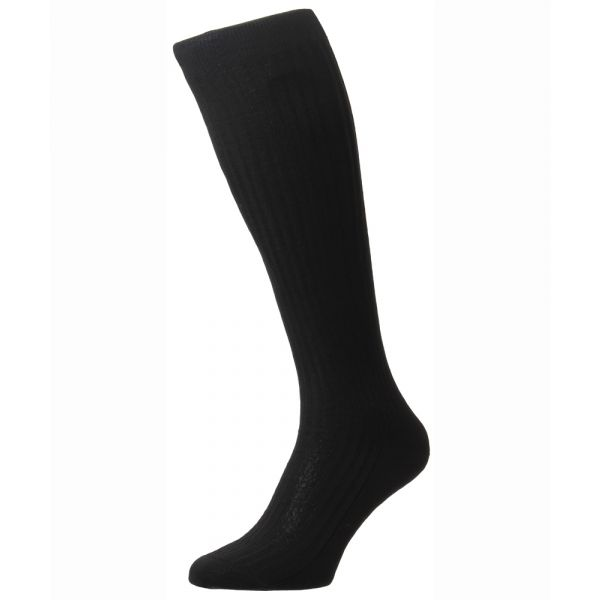 Pantherella Socks - Baffin - Mens - Black - Plain - Silk - Full Calf - Long
