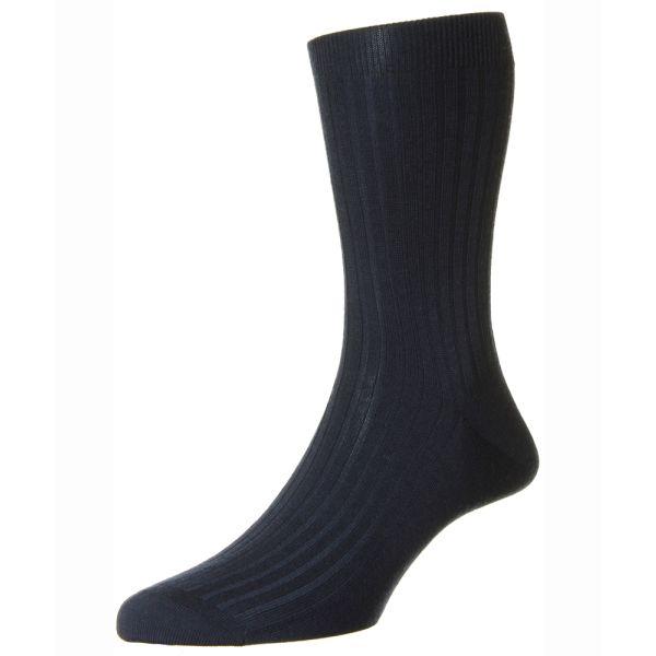 Pantherella Socks - Knightsbridge - Mens - Navy - Plain - Cashmere 100% - Half Calf - Short