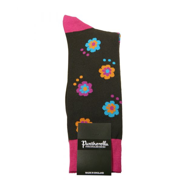 Chocolate Festival Flower Design Cotton Socks from Pantherella