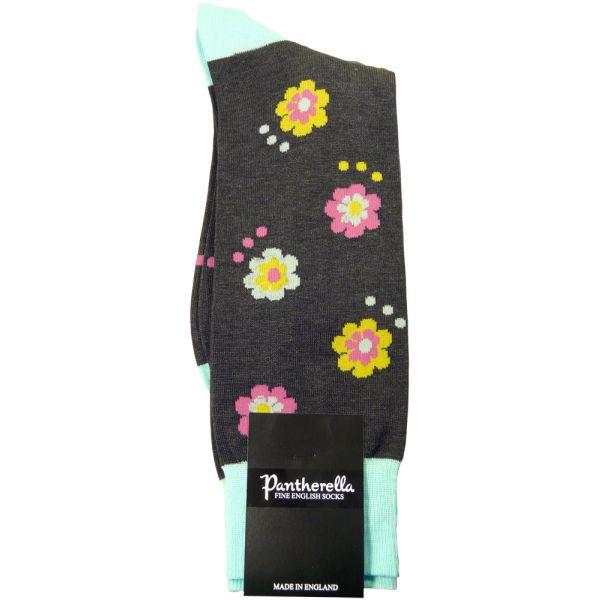 Dark Grey Mix Festival Flower Design Cotton Socks from Pantherella