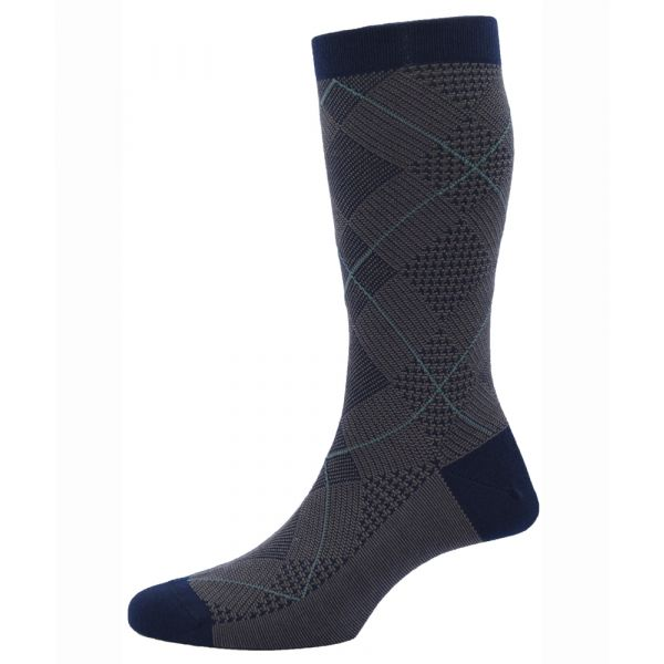Pantherella Socks - Blake - Mens - Navy - Patterned - Wool Blend - Half Calf - Short
