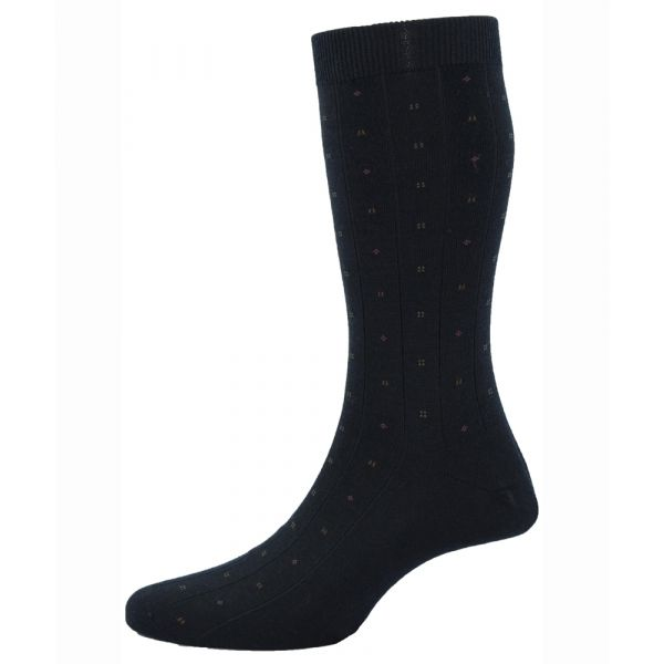 Pantherella Socks - Larkin - Mens - Black - Patterned - Wool Blend - Half Calf - Short