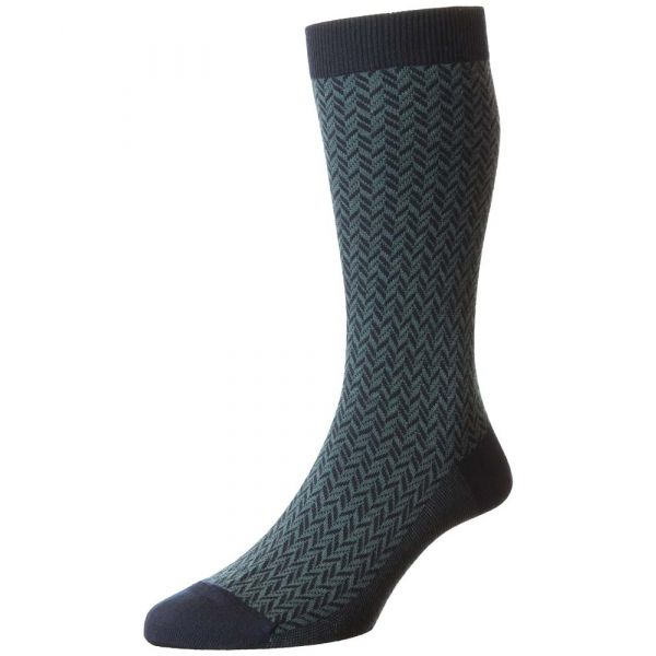 Pantherella Socks - Forster - Mens - Navy - Herringbone - Wool Blend - Half Calf - Short