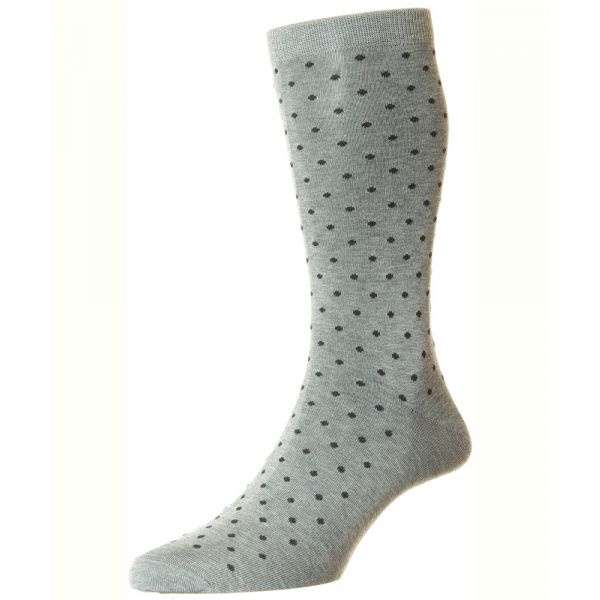 Pantherella Socks - Streatham  - Mens - Grey - Spotted - Cotton Blend - Half Calf - Short