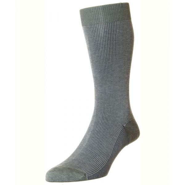 Pantherella Socks - Tewkesbury  - Mens - Grey - Patterned - Cotton Blend - Half Calf - Short