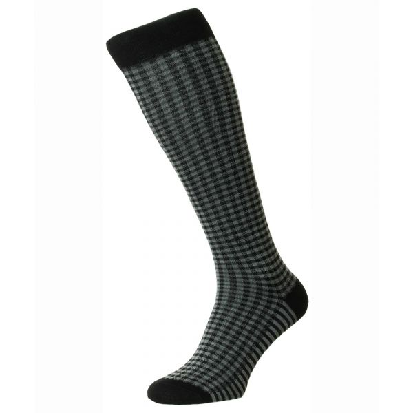 Pantherella Socks - Grafton - Mens - Black - Check - Cotton Blend - Full Calf - Long
