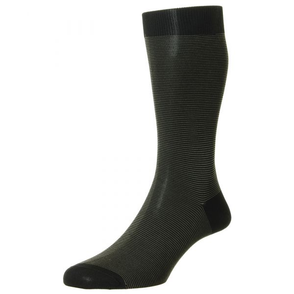 Pantherella Socks - Seymour - Mens - Black - Striped - Cotton Blend - Half Calf - Short