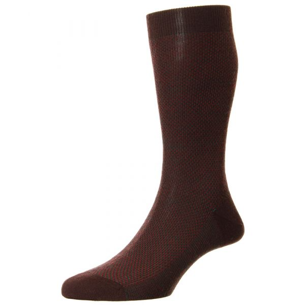Pantherella Socks - Blenheim - Mens - Maroon - Patterned - Wool Blend - Half Calf - Short
