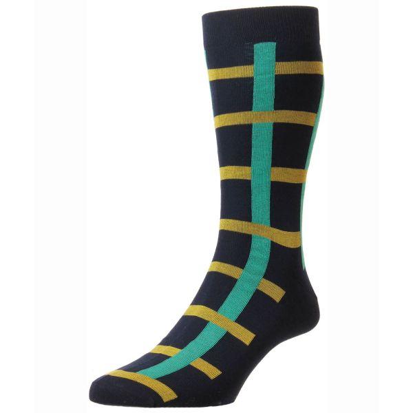 Pantherella Socks - Halston - Mens - Navy - Windowpane Check Design - Cotton Blend - Half Calf