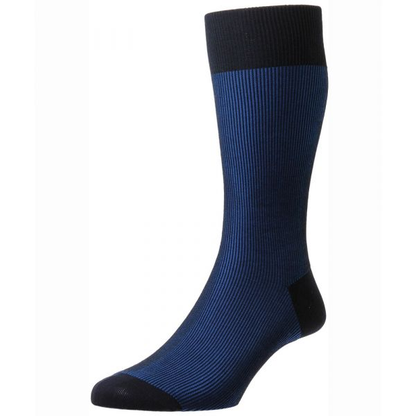 Pantherella Socks - Santos - Mens - Twotone Rib Stripe - Cotton Blend - Half Calf
