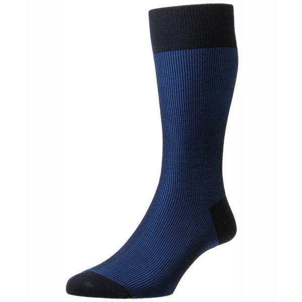 Pantherella Socks - Santos - Mens - Twotone Rib Stripe - Cotton Blend - Half Calf