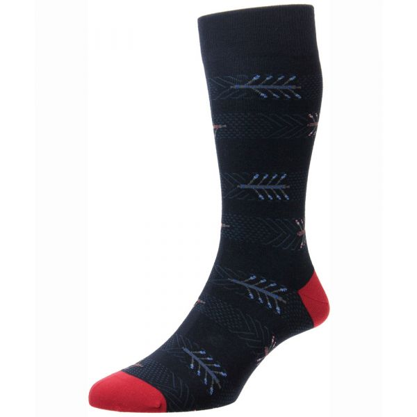 Scott Nichol Socks - Burnell -Mens - Navy Arrows Design - Cotton - Half Calf - YS4043