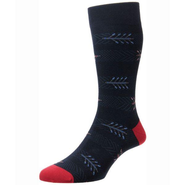 Scott Nichol Socks - Burnell -Mens - Navy Arrows Design - Cotton - Half Calf - YS4043
