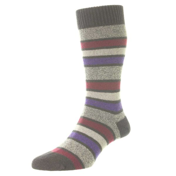Pantherella Socks - Strathaird - Mens - Stripe - Cashmere Blend - Half Calf - Short