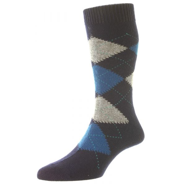 Pantherella Socks - Beaulieu - Mens - Argyle - Cashmere Blend - Half Calf - Short