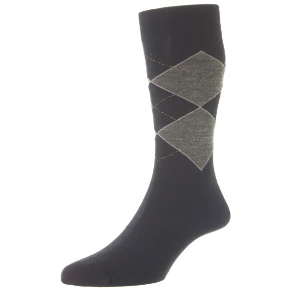 Pantherella Socks - Dennett - Mens - Argyle - Merino Wool Blend - Half Calf - Short