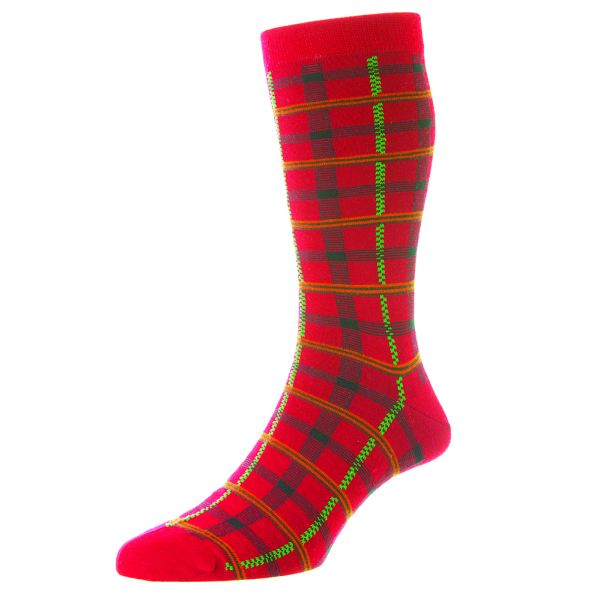 Pantherella Socks - Chalsey - Mens - Bold Check - Merino Wool - Half Calf