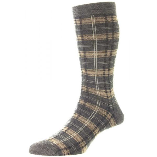 Pantherella Socks - Vintage Range - Topham - Mens - Check -  Merino Wool - Half Calf - Short
