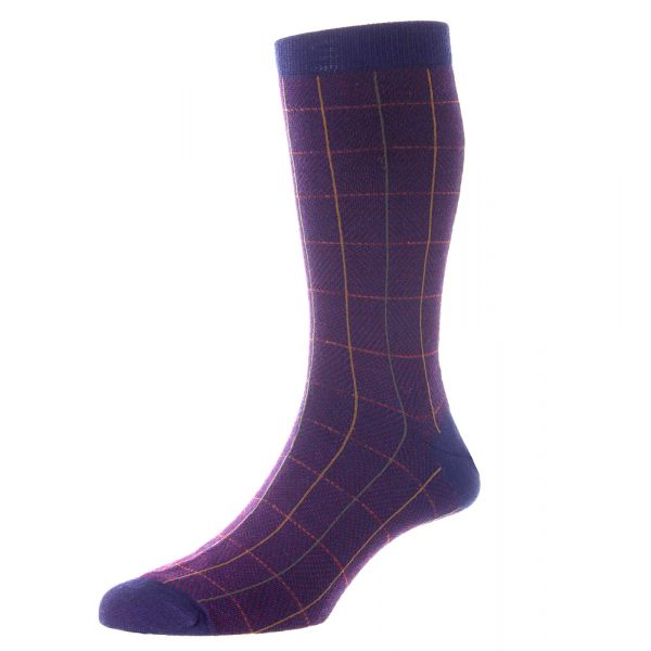 Pantherella Socks - Willoughby - Mens - Windowpane - Merino Wool - Half Calf