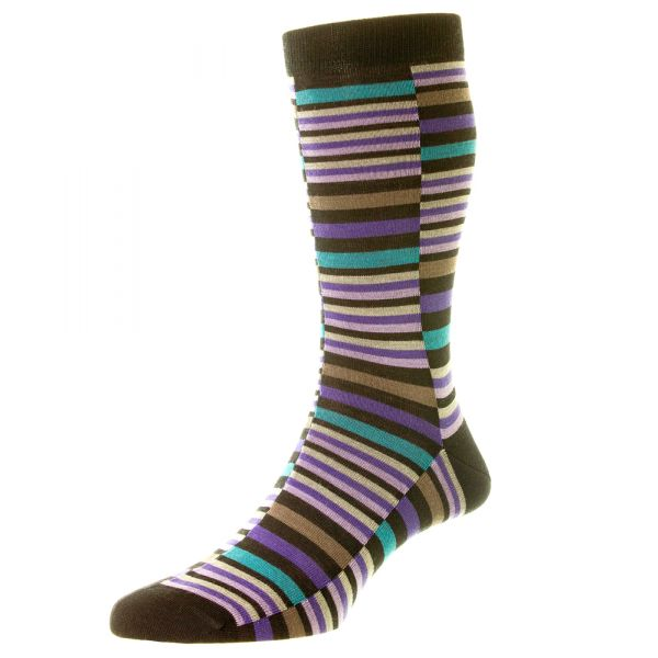 Pantherella Socks  - Modern Range - Brockley - Mens - Broken Stripe - Merino Wool - Half Calf - Short