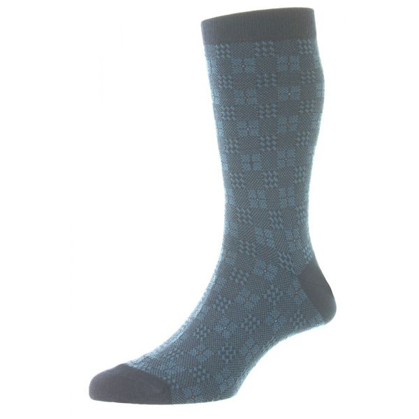 Pantherella Socks - Pomeroy - Mens - Patchwork Plaid - Merino Wool - Half Calf - Short