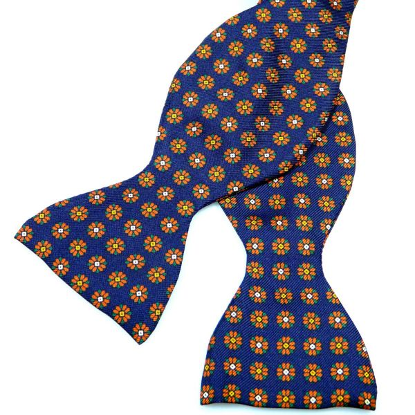 Self Tie Silk Bow Tie with Neat Flowers Design from Hunt and Holditch
