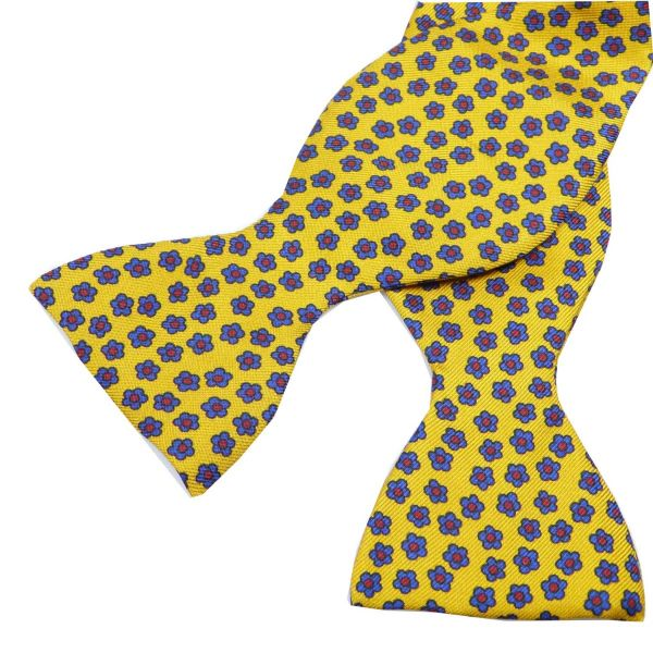 Self Tie Silk Bow Tie with Ditzy Flower Design from Hunt and Holditch