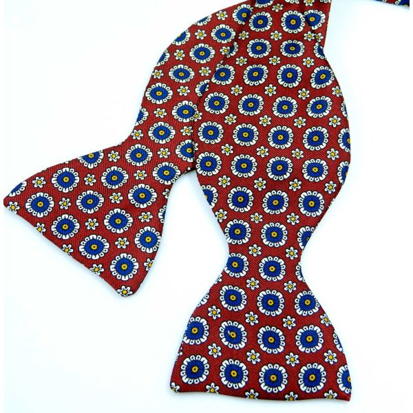 Self Tie Silk Bow Tie with Neat Rounds Design from Hunt and Holditch