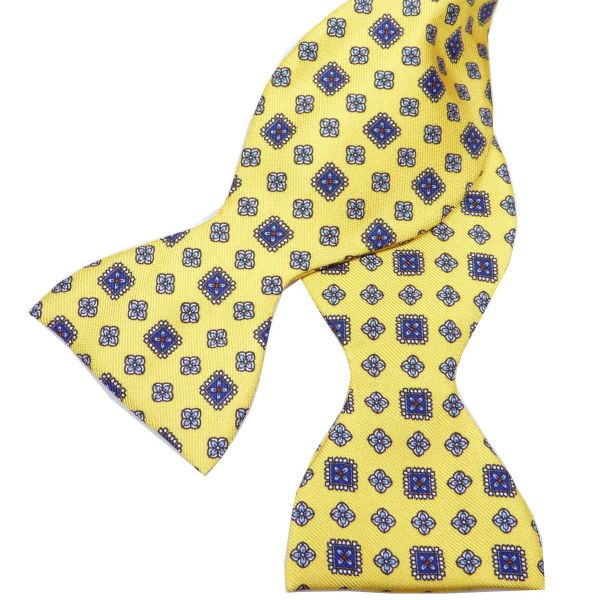 Self Tie Silk Bow Tie in Bright Yellow Design from Hunt and Holditch