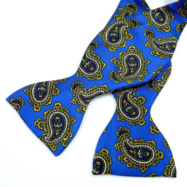 Self Tie Silk Bow Tie in Bold Paisley Design from Hunt and Holditch