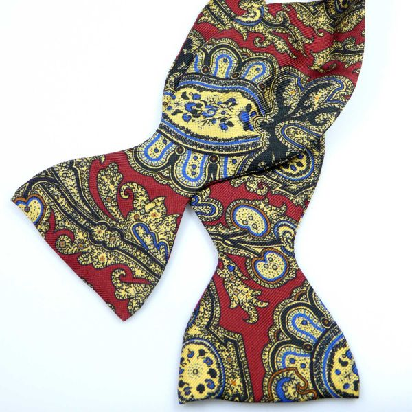 Self Tie Silk Bow Tie in Wine and Antique Gold from Hunt and Holditch