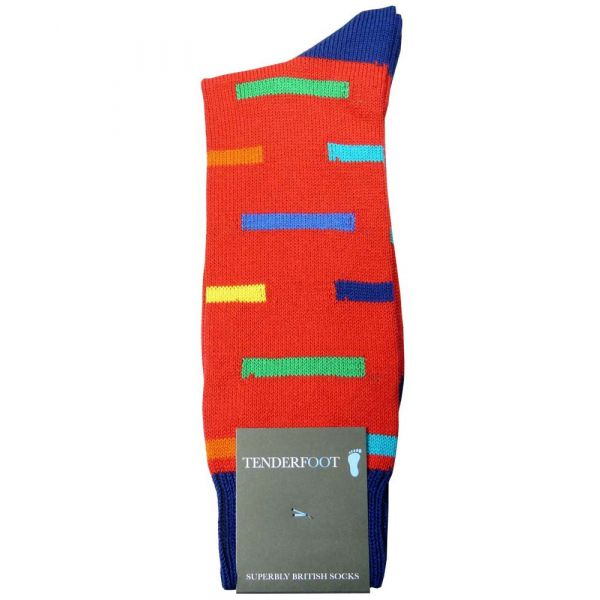 Gridlock - Coloured Dashes Mens Cotton Socks from Tenderfoot