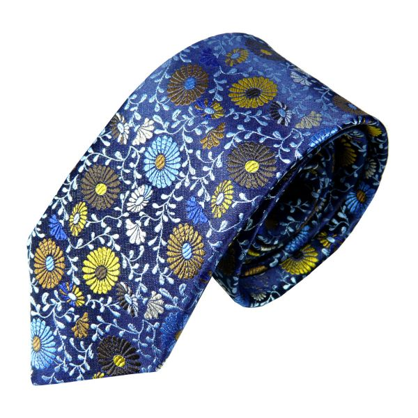 Limited Edition Silk Tie in Blue with Multi Colour Daisies from Van Buck