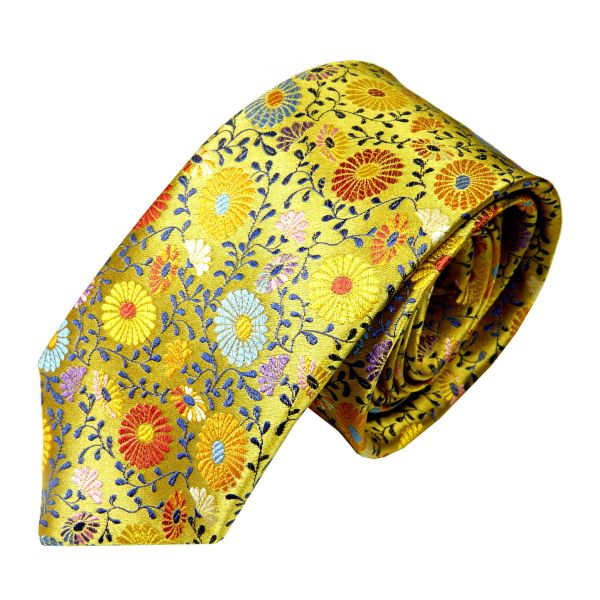 Limited Edition Silk Tie in Soft Gold with Multi Colour Daisies from Van Buck