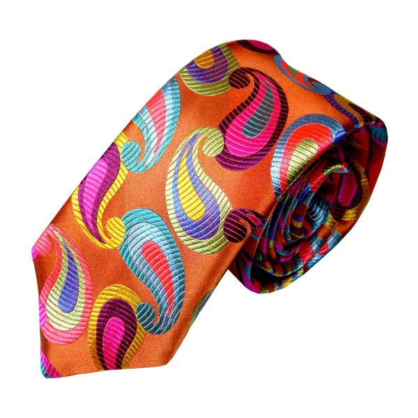 Limited Edition Silk Tie in Orange with Large Paisley Drops from Van Buck