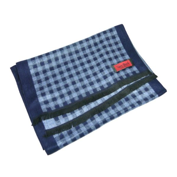 Van Buck Reversible Scarf, Navy and Blue Check Reverse Boarder Design