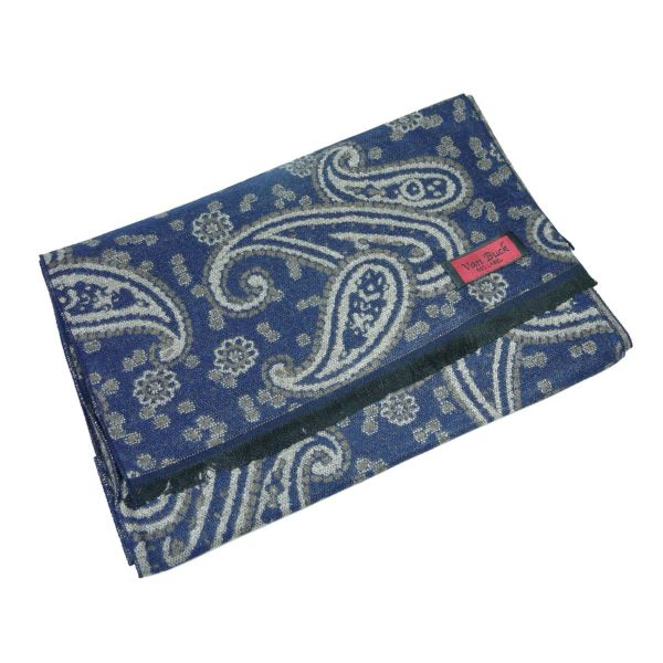 Van Buck Reversible Scarf, Navy & Browns Paisley Design
