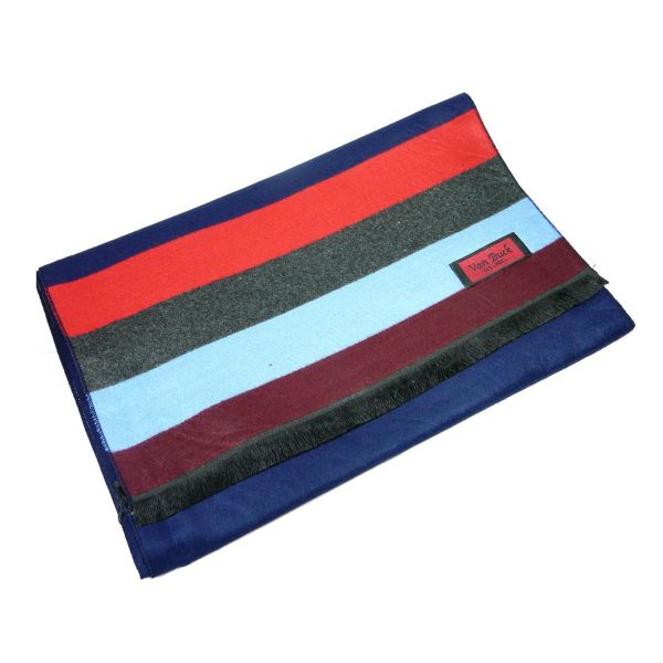 Van Buck Reversible Scarf, Striped with Blues, Greys and Reds with Navy Plain Back Scarf