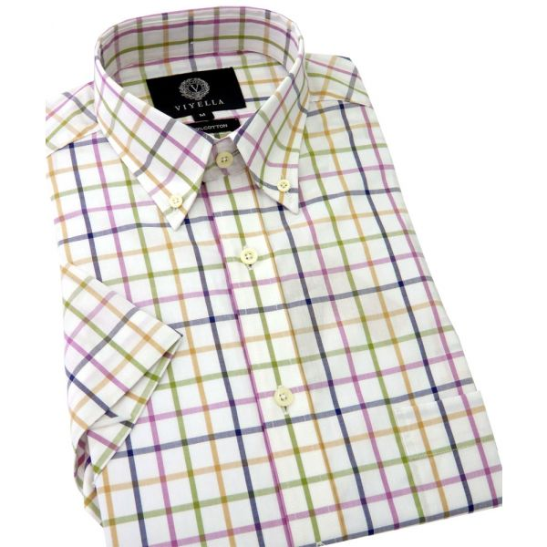 Viyella Short Sleeve Cotton Shirt in a Damson Open Tattersall Check