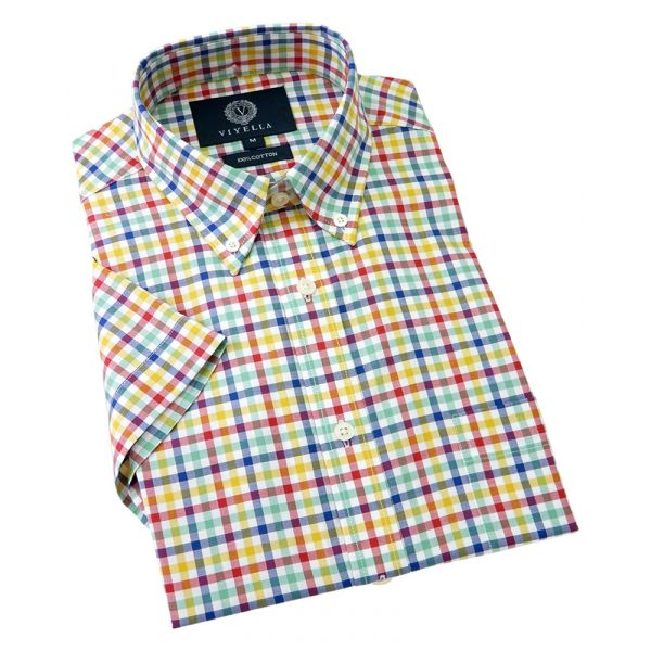 Viyella Short Sleeve Cotton Shirt with Button Down Collar - Multi Oxford Tattersall