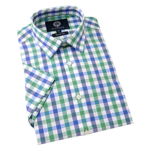 Viyella Short Sleeve Cotton Shirt in Blue and Green Oxford Check