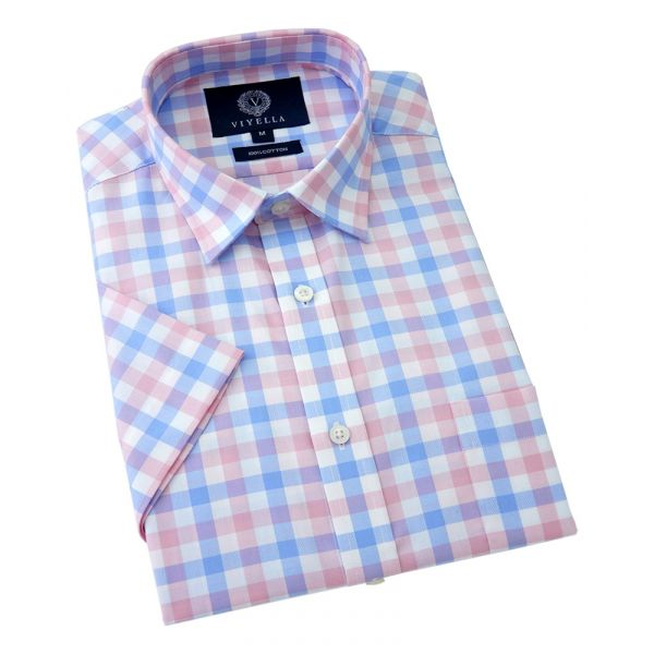 Viyella Short Sleeve Cotton Shirt in Blue and Pink Oxford Check