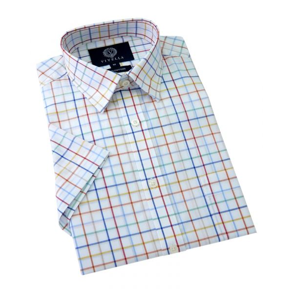 Viyella Short Sleeve Cotton Shirt in Navy Multi Tattersall