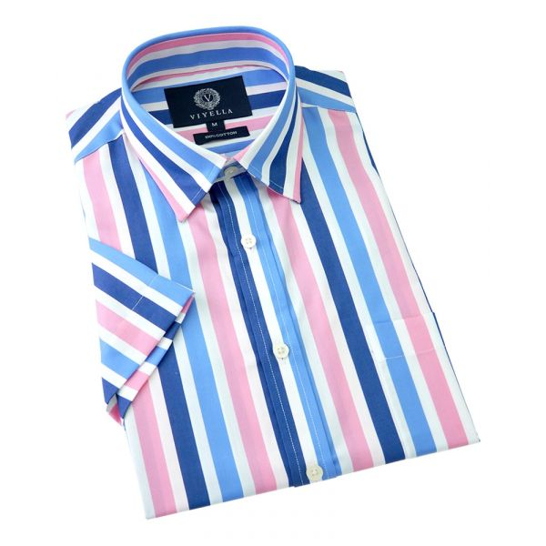 Viyella Short Sleeve Cotton Shirt in Sateen Stripe Blue and Pink