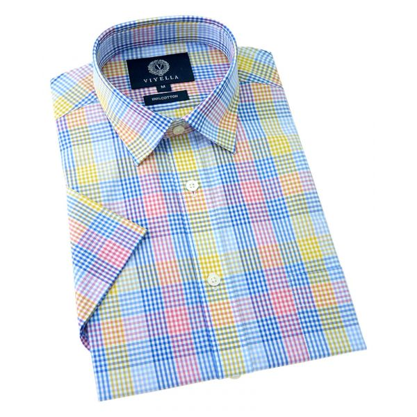 Viyella Short Sleeve Cotton Shirt in Multi Gingham Check