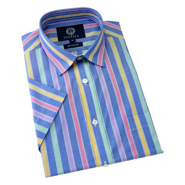 Viyella Short Sleeve Cotton Shirt in Blue Candy Stripe