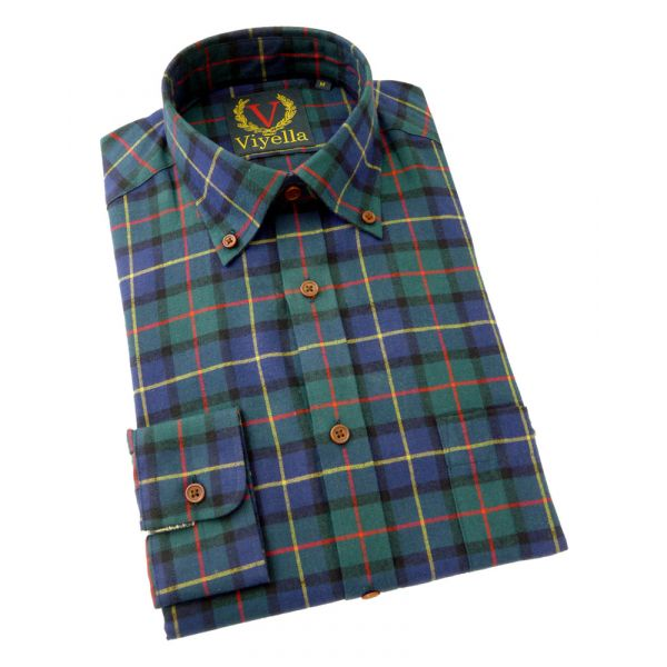 Viyella Slim Fit Cotton Shirt with Button Collar in Club Check